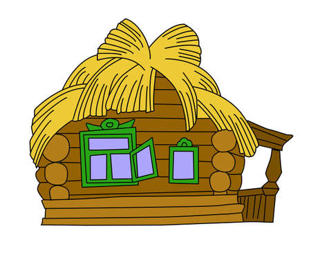 shack: rural house drawing on white background, vector illustration