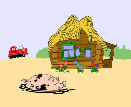 pig against rural building, vector illustration Stock Vector - 11476761