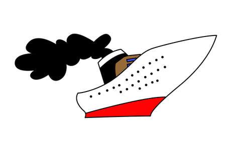 steamship: stoomschip tekening op een witte achtergrond, vector illustratie