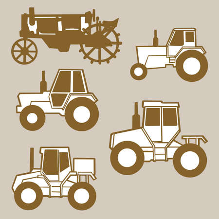 tractor sign: tractor silhouette on brown background, vector illustration