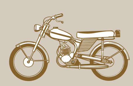 moped silhouette on brown background, vector illustration Vector