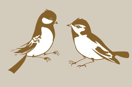 birds silhouettes on brown background, vector illustration Vector
