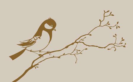 bird silhouette on brown background, vector illustration Vector