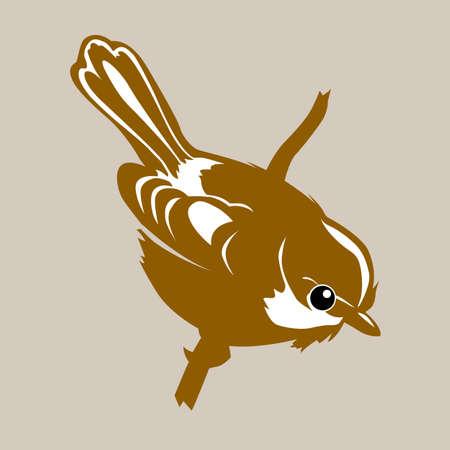 oiseau dessin: la silhouette d'oiseau sur fond brun, illustration vectorielle