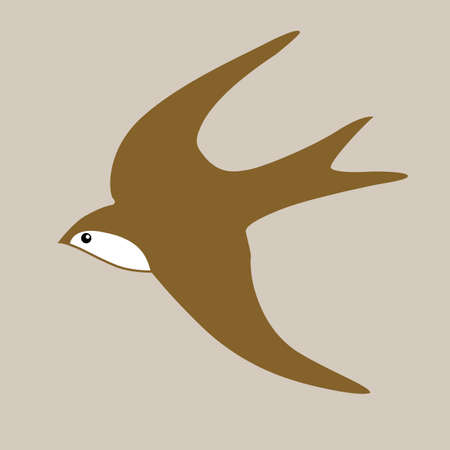 swallow silhouette on brown background, vector illustration