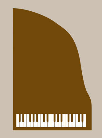 overhand: piano silhouette on brown background, vector illustration
