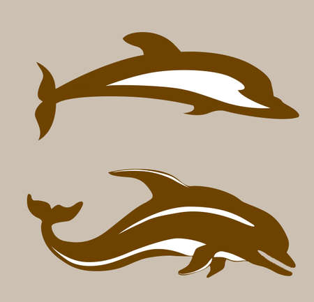 two dolphins on brown background, vector illustration Vector