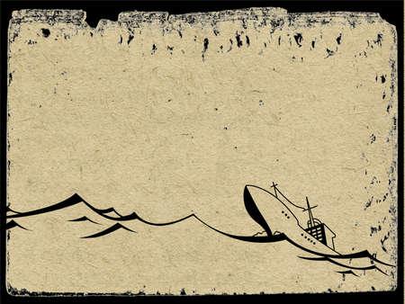 spoil: nave on seaborne on grunge  background, vector illustration