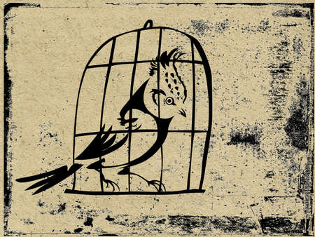 captivity: bird in hutch on grunge background, vector illustration