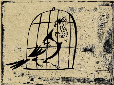 hutch: bird in hutch on grunge background, vector illustration