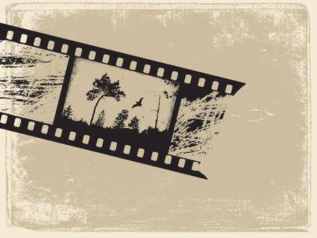 spoiled frame: old film on old paper, vector illustration Illustration