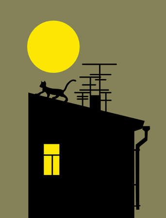 cat silhouette on home roof, vector illustration Vector