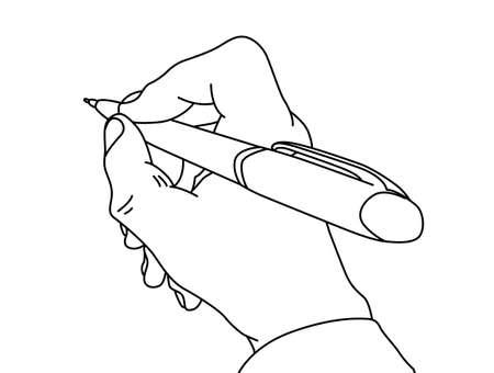 trekken: bijl in de hand op een witte achtergrond, vector illustratie