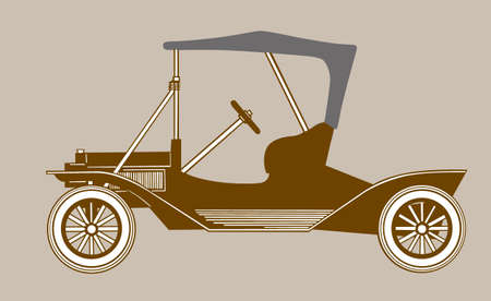 retro car silhouette on brown background, vector illustration Stock Vector - 11579548