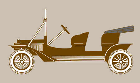 retro car silhouette on brown background, vector illustration Stock Vector - 11579543