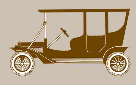 retro car silhouette on brown background, vector illustration Stock Vector - 11579559
