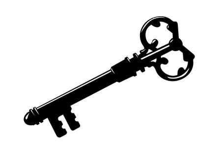 key silhouette on white background, vector illustration Vector