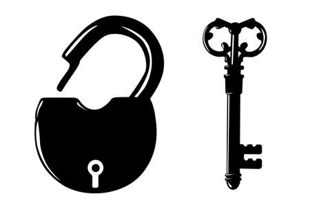 padlock silhouette on white background Vector