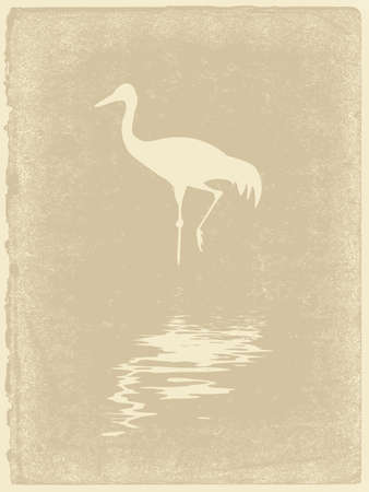 crane silhouette on old paper Vector