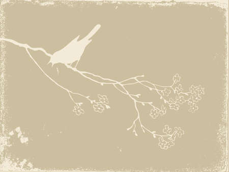 parşömen: bird silhouette on old paper, vector illustration Çizim
