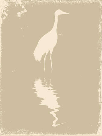 crane silhouette on old paper, vector illustration Illustration