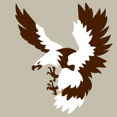 eagle drawing on brown background, vector illustration Vector