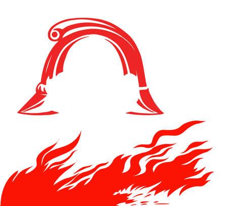 fire and fireman helmet on white background, vector illustration Vector