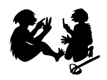 two neanderthal mans on white background, vector illustration Stock Vector - 11856223