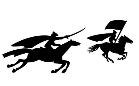 revolutionary war: two riders silhouette on white background, vector illustration
