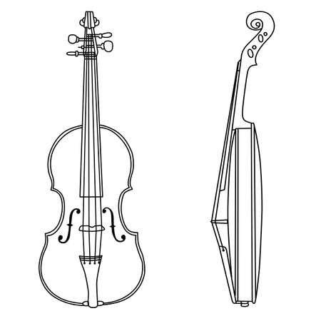 violin silhouette on white background, vector illustration Vector