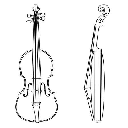 Violine Silhouette auf weißem Hintergrund, Vektor-Illustration
