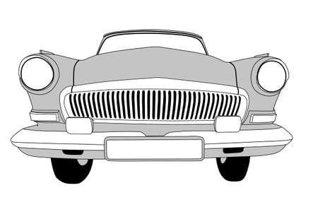 coche retro en el fondo blanco, ilustración vectorial
