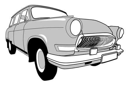 retro car on white background, vector illustration Vector