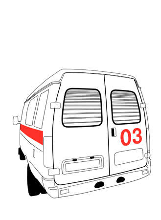 car to ambulance on white background, vector illustration Stock Vector - 11856332
