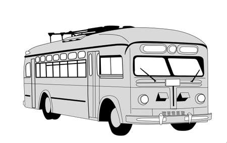 prestige car: trolley bus silhouette on white background
