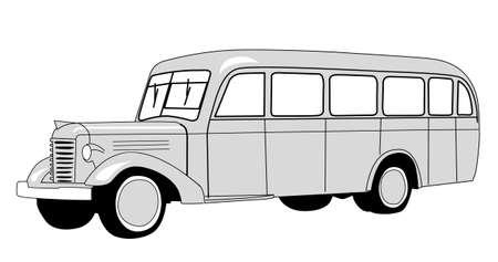 prestige car: bus silhouette on white background Illustration
