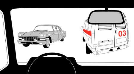 inwardly: car salon silhouette on white background, vector illustration Illustration