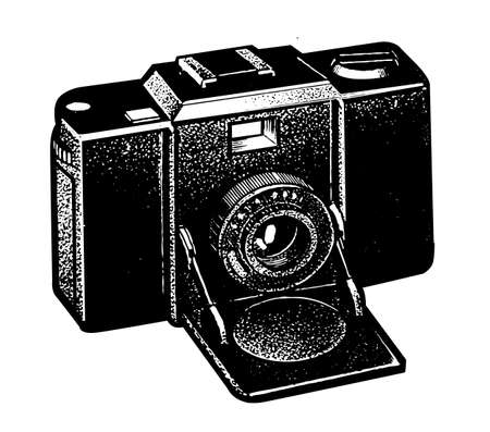 retro camera on white background, vector illustration