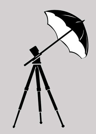 strobe light: tripod silhouette on gray background, vector illustration