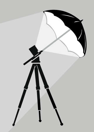 tripod silhouette on gray background, vector illustration Vector