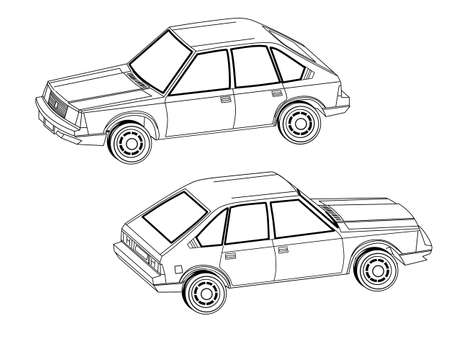 prestige car: car silhouette on white background, vector illustration