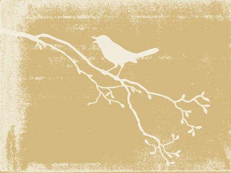 �rboles con pajaros: aves silueta en el fondo del grunge, ilustraci�n vectorial