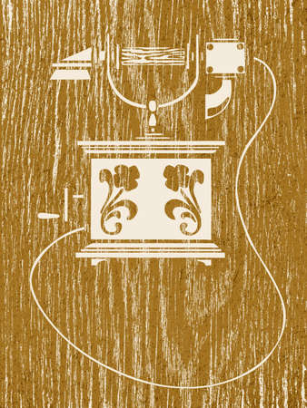 spoiled frame: ancient telephone on wood background, vector illustration