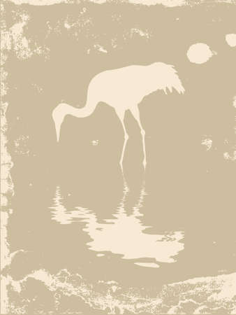 crane silhouette on grunge background, vector illustration Vector
