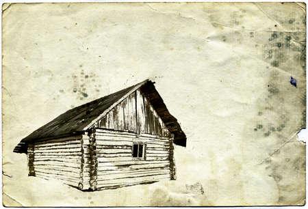 wooden house ongrunge  background Stock Photo - 12015967