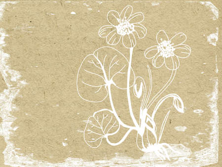 flower silhouette on old paper Stock Photo - 12016011
