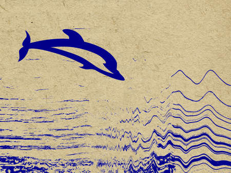 blue dolphin on grunge background photo