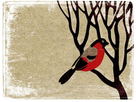 birds in tree: ciuffolotto su albero su sfondo grunge Archivio Fotografico