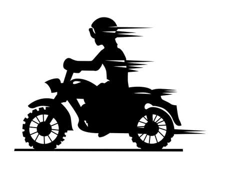 motorcyclist silhouette on white background Vector