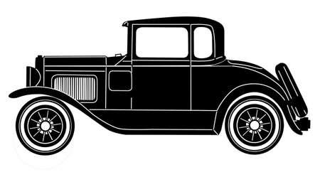 auto old: coche retro en el fondo blanco